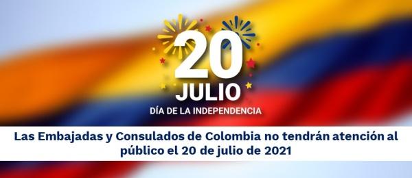 Las Embajadas y Consulados de Colombia no tendrán atención al público el 20 de julio de 2021